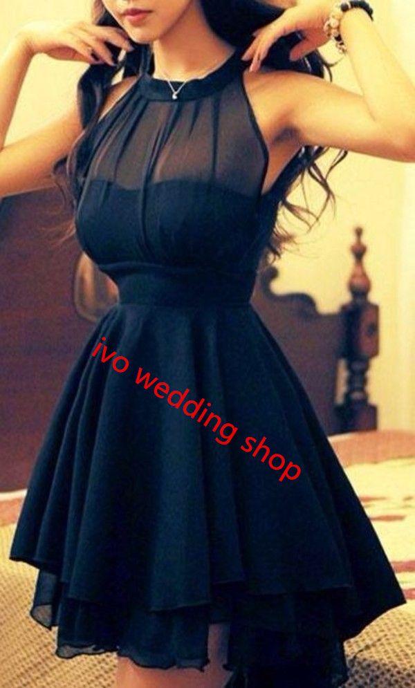 Elegant Navy Blue Homecoming Dress Chiffon Short Prom Dress Sweet 16 Gowns Modest Evening Gowns For Teens Girls