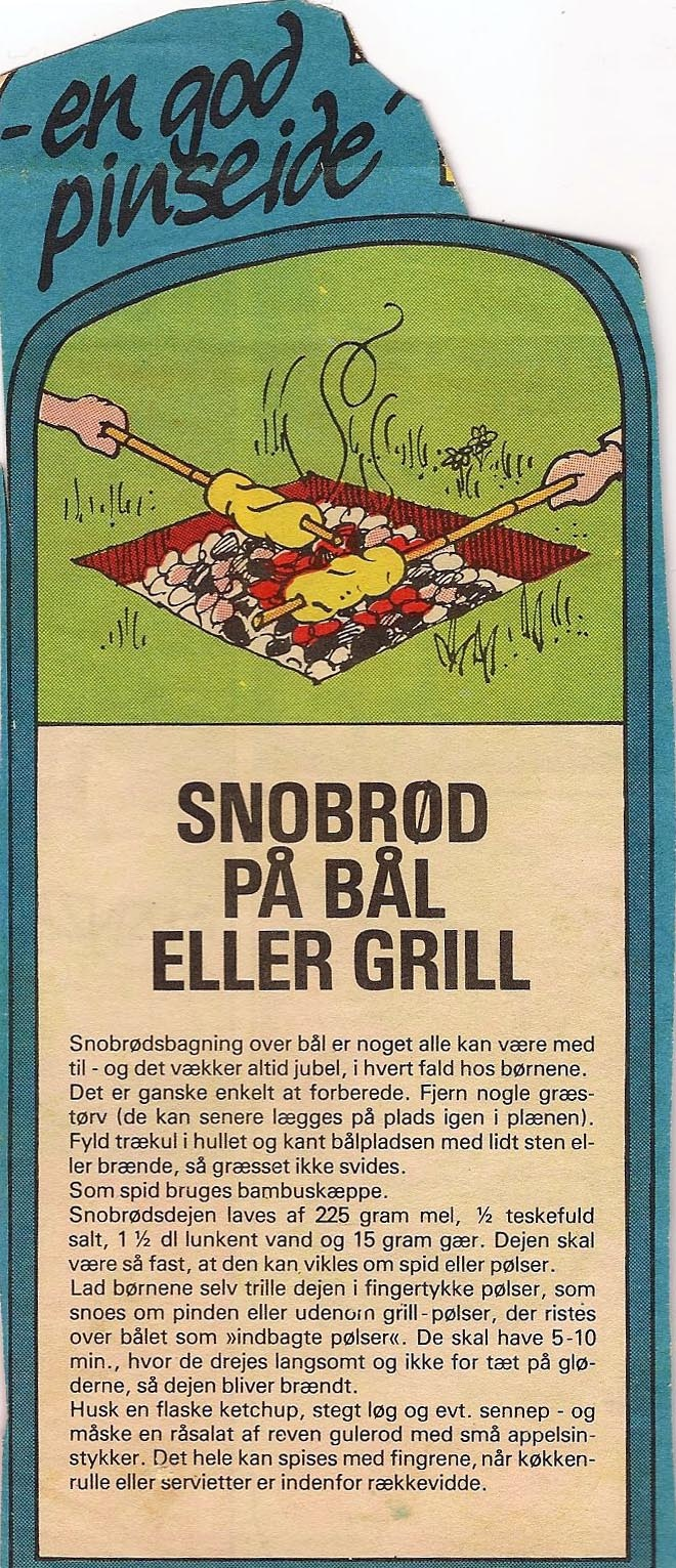 From the Topless Bread blog: twisted bread/snobrød for kids to cook over a campfire or grill (recipe in English)