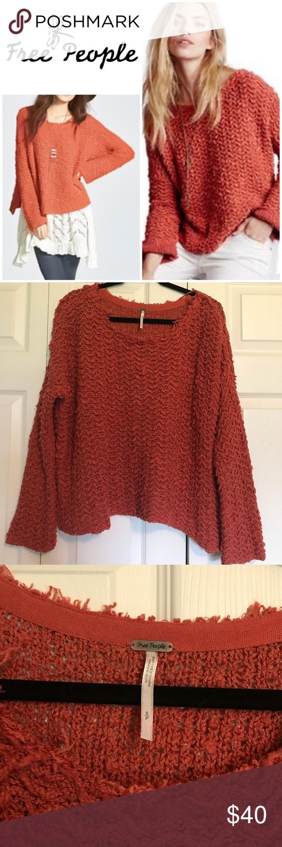 Free People Oversized Sweater Free People over sized orange sweater. Super soft and comfy! EUC. No pulls, holes or stains. Worn and washed with care, always laid flat to dry. Make an offer or bundle for 10% off! Free People Sweaters Crew & Scoop Necks