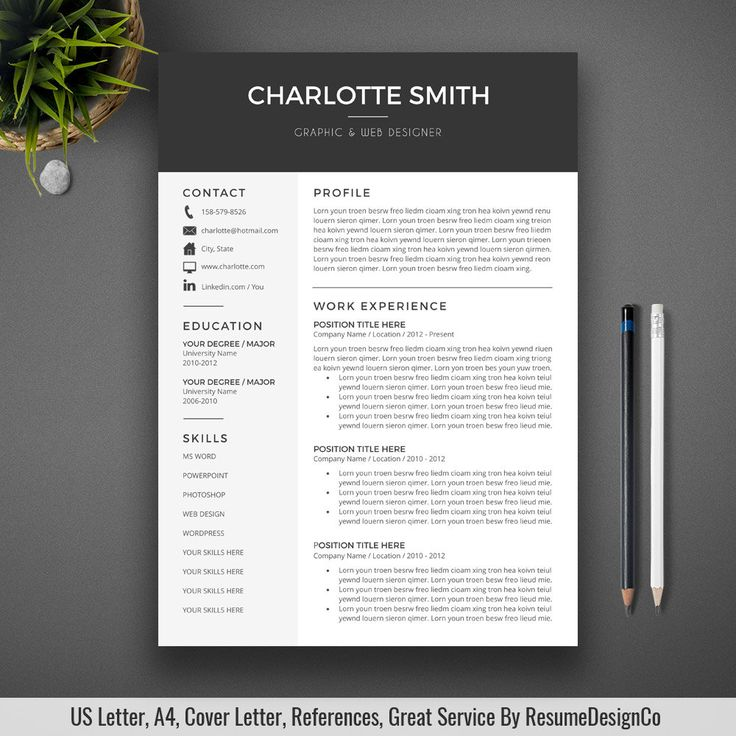 professional resume template cover letter cv template us letter a4 word simple modern creative resume instant - Templates For A Resume