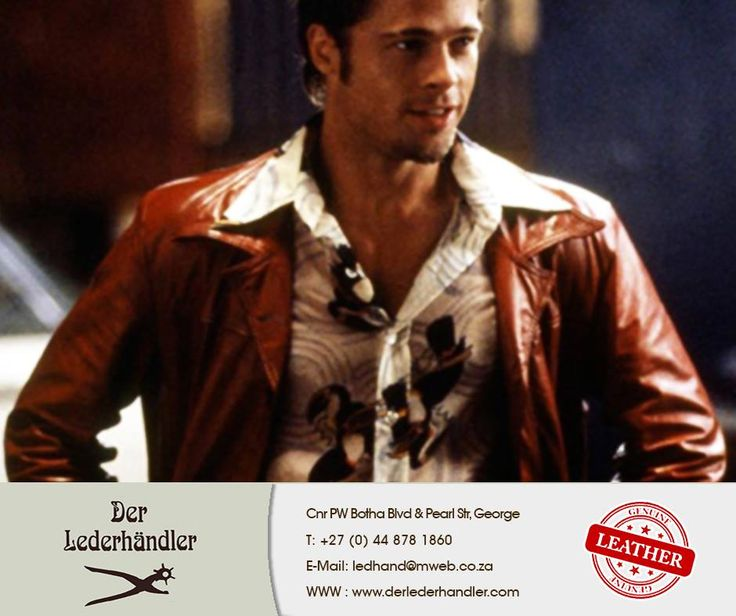 #BradPitt did such an excellent acting job portraying Tyler Durden in this memorable movie. His #leather jacket designed by #MichaelKaplan started a fashion revolution. Who of you know the name of this movie? #DerLederhandler #TuesdayTrivia