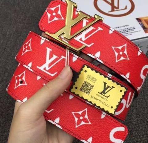 0eff0f722f6c UA Replica Supreme X Louis Vuitton (LV) Belt in RED