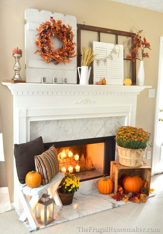 Do it Yourself Layered and Non-Centered Fall Mantel Inspiration Home Decor Ideas for Autumn via The Frugal Homemaker