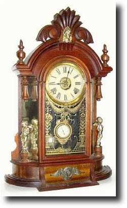 "Ansonia Clock Company, NYC - The ""Triumph"", model clock.  Designed and distributed during America's Gilded Age, c.1880 - c.1900. ~ {cwlyons} ~ (image: antiqueclockspriceguide)"
