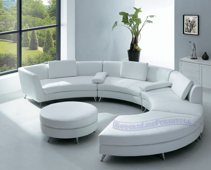 Room furniture with elegant half circle sofa home interior designs - all white living room set