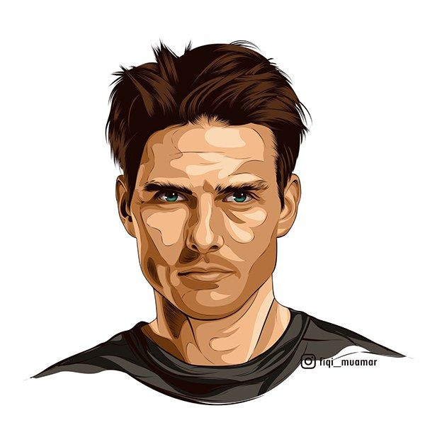 fan art tom cruise vector vexel cartoon realistic >>> https://www.behance.net/gallery/38286817/fan-art-tom-cruise-cartoon-style