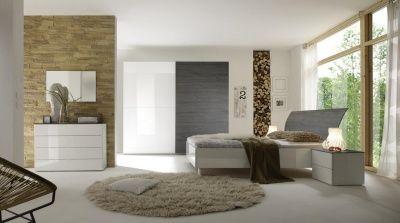 Camera da Letto Matrimoniale Completa Bianco Laccato e Rovere Grigio