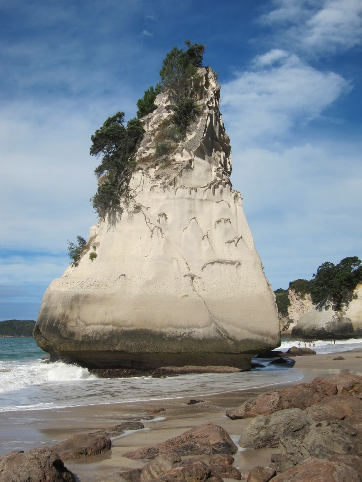"""Te Hoho"" the island of pumice at low tide at Cathedral Cove."