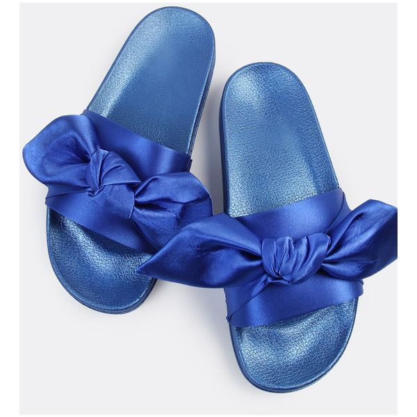Open Toe Satin Slide Sandals ROYAL BLUE ❤ liked on Polyvore featuring shoes, sandals, satin sandals, electric blue shoes, slide sandals, satin shoes and open toe sandals