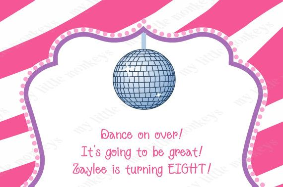 10 Dance Disco Birthday Party Invitations with by BethCloud723, $7.99