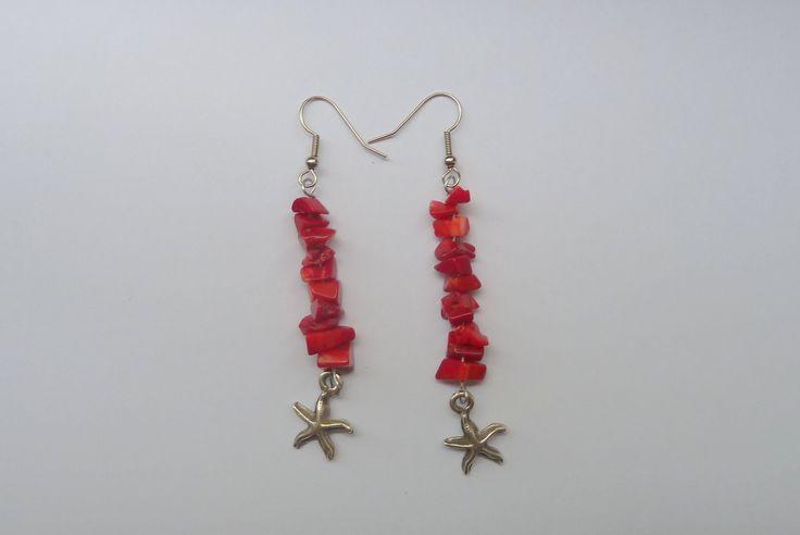 Handmade earrings,coral earrings,red earrings,energy earrings,dangle earrings by under25dollarshop on Etsy