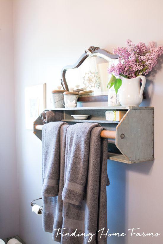 Vintage Tool  Box Towel Bar Shelf | Finding Home Farms -shabby chic