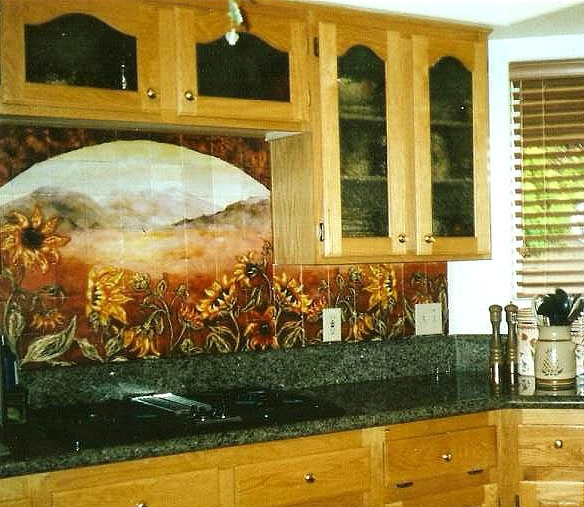 tile murals for kitchen backsplash sunflower kitchen backsplashes amp tile murals products i 26027