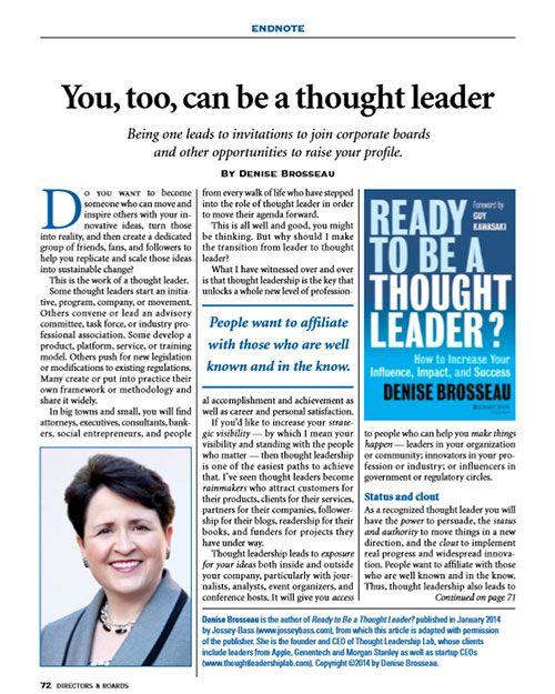 Excerpt in Directors & Boards magazine