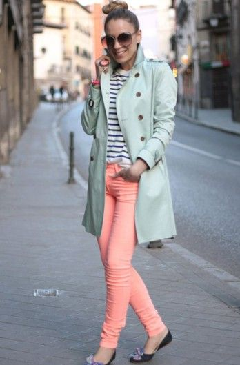 mint.Colors Combos, Fashion, Style, Colors Jeans, Pink Pants, Than, Outfit, Pastel Colors, Trench Coats