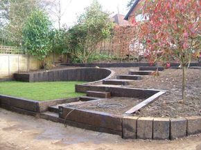 Stunning The use of oak sleepers for arrangement of the courtyard and garden A private house