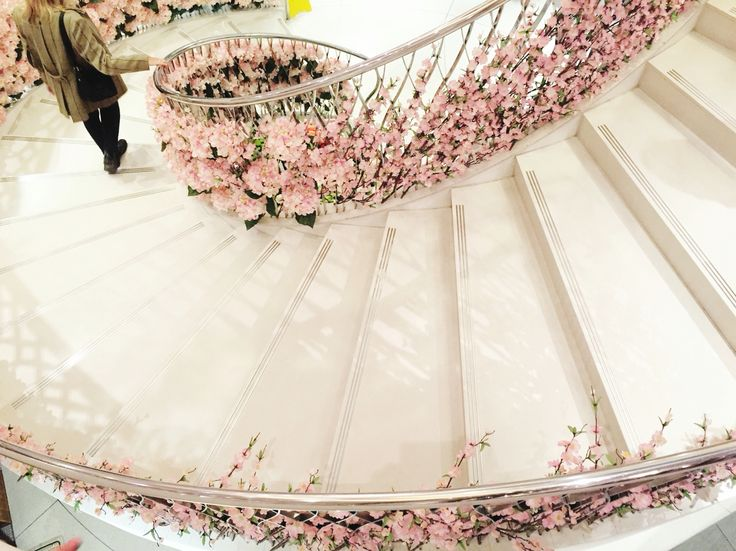 Gorgeous floral staircase at Fortnum and Mason in London - captured by Ruby and B journal
