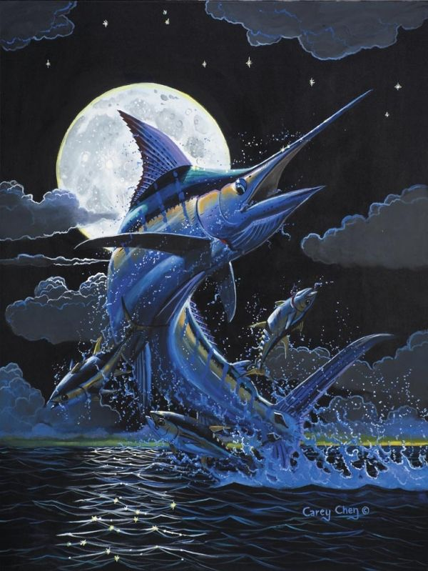 Art by Carey Chen blue moon | GUY HARVEY ARTIST and others ...