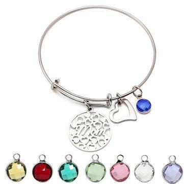 المرأة القلب الحب الملونة جوهرة قلادة الفولاذ المقاوم للصدأ سوار هدية لأمي Bracelets Stainless Steel Bracelet Gifts For Mom