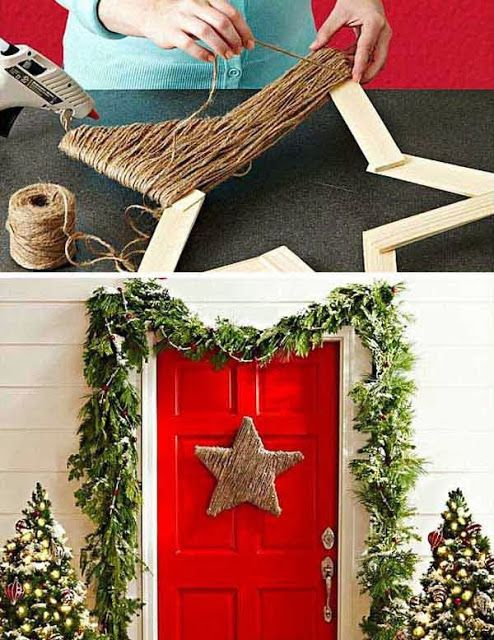 I love stars. Easy DIY home decorating. Simple and cute! Maybe with colored yarn too?
