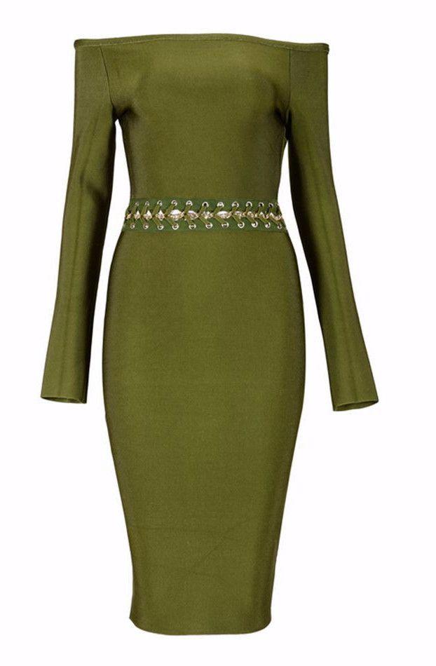 Olive Green Bandage Dress