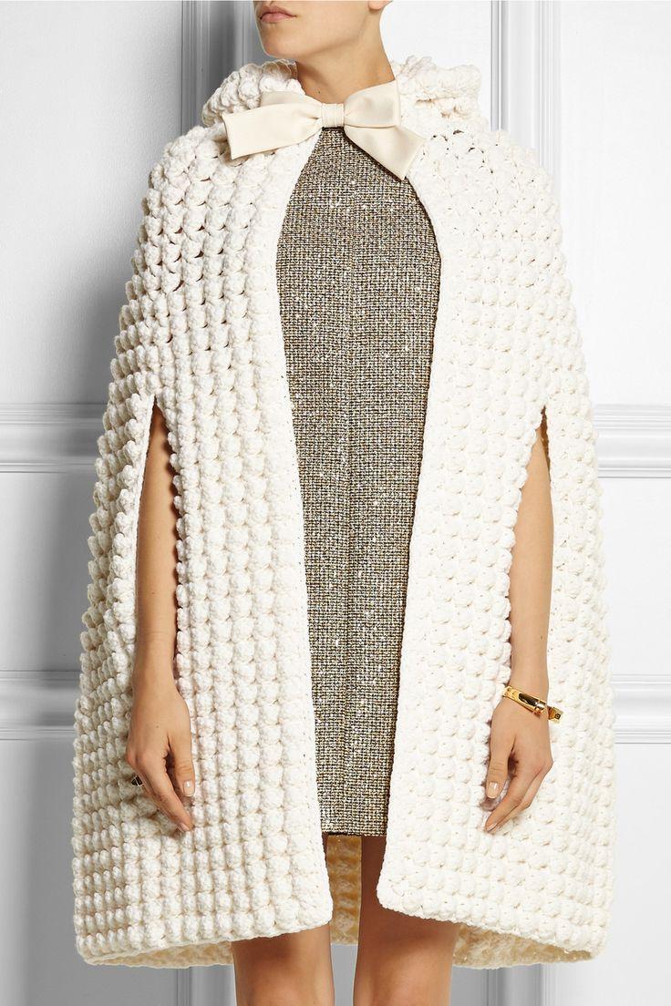 Saint Laurent|Hooded crocheted wool-blend cape|NET-A-PORTER.COM