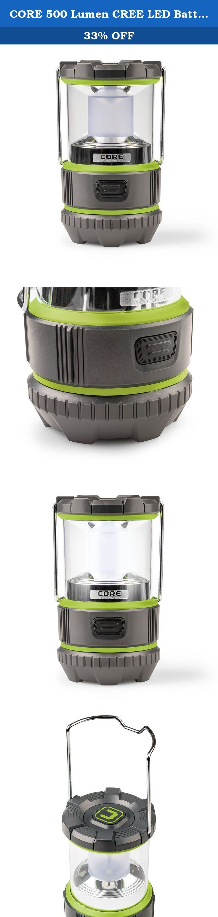 CORE 500 Lumen CREE LED Battery Lantern, 3 D batteries, Camp Lantern, Emergency Lantern. As one of the brightest LED lanterns on the market, the CORE 500 Lumen Camping Lantern features high and low lighting modes and boasts an industry leading CREE® LED bulb. Built with durable, high quality materials, its impact resistant construction and a shatter resistant lens ensure that your lantern can handle life outdoors. A sturdy steel handle allows for easy carrying or hanging for even better…