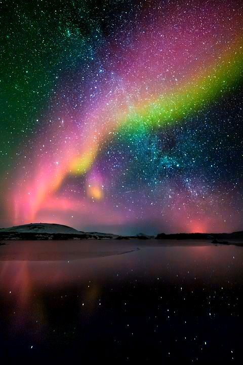 aurora borealis and milky way, Iceland