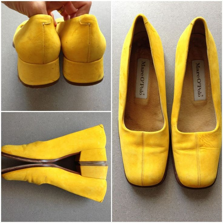 MARC O'POLO 6.5 YELLOW SUEDE Leather Squared TOE Chunky HEEL Career SHOES Classy #MarcOPolo #LoafersMoccasins