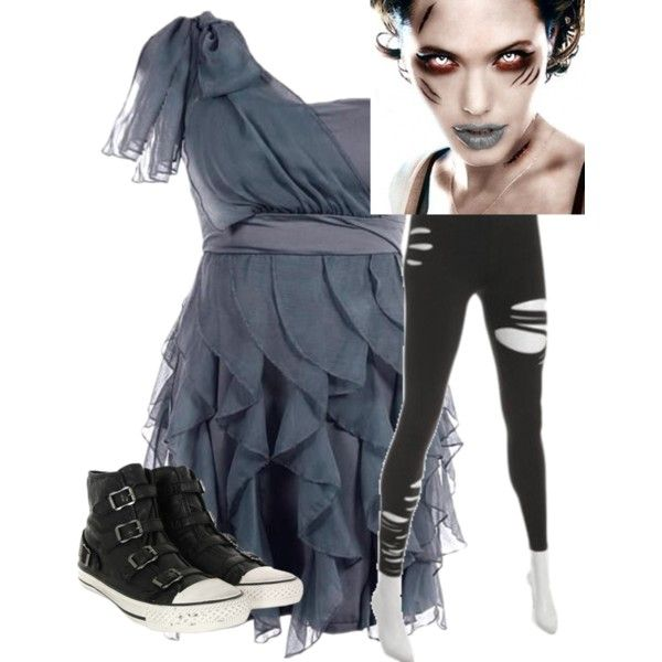 Zombie Costume Ideas - (A little less polished, but like the colors and torn tights.)
