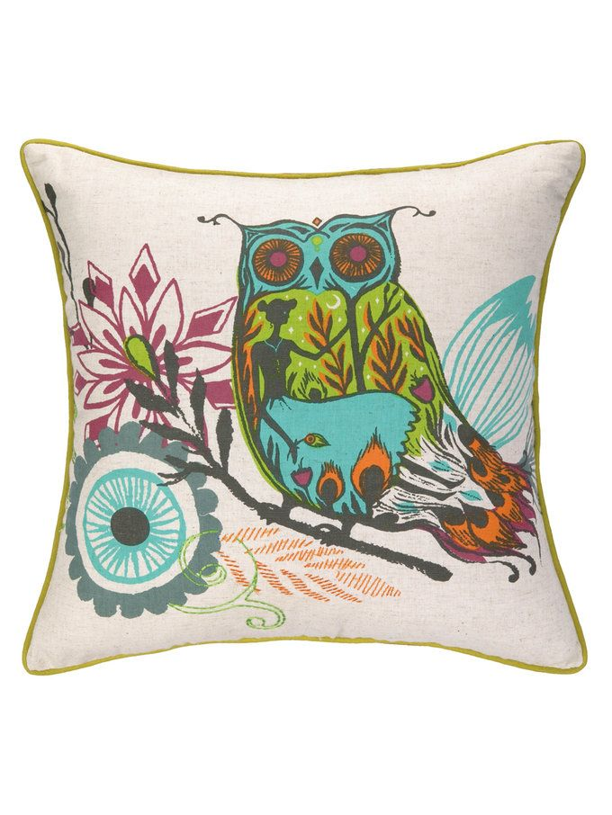 Owl Embroidered & Printed Pillow from Up to 80% Off: Decorative Pillows on Gilt Purple ...