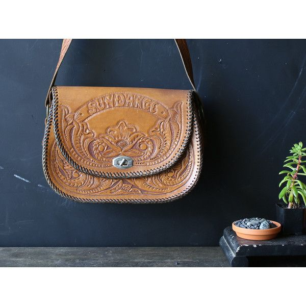 Vintage Tooled Leather Purse Bohemian Festival Cross Body Bag Boho... ($48) ❤ liked on Polyvore featuring bags, handbags and shoulder bags