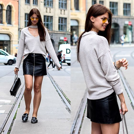 Get this look: http://lb.nu/look/8822371  More looks by Jacky: http://lb.nu/whaelse  Items in this look:  Zara Sweater, Gucci Bag, Marks & Spencer Shoes   #casual #minimal #street #yellowsunglasses #vneck #choker #subdued #zara #marksandspencer