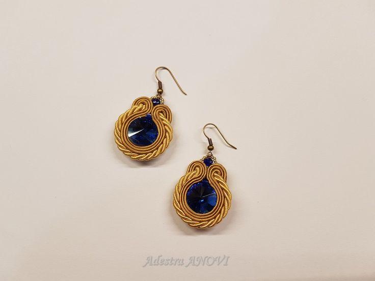 Soutache Earrings, Dangle Soutache Earrings, Beige Blue Soutache Jewelry by AdestraANOVIDesign on Etsy