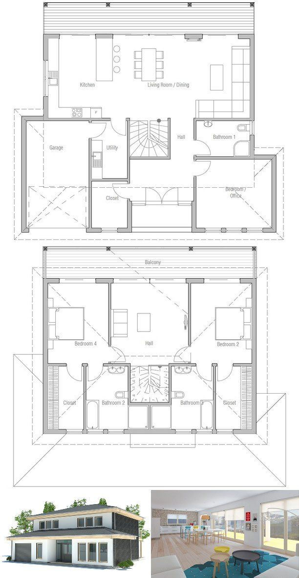 Modern house plan with full wall height windows and abundance of natural light. Three bedrooms and two living areas.