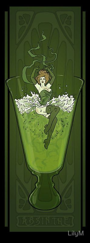 Art Nouveau Absinthe Poster by LilyM - http://www.crownwineandspirits.com/search.php?q=absinthe