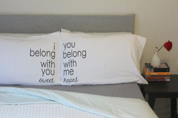couples pillow cases Lumineers Ho Hey Pillowcase I Belong With You Pillow Couples Pillow case Wedding Gift Pillow