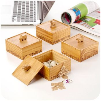 fun box ZAKKA retro cute animal wooden storage box jewelry box
