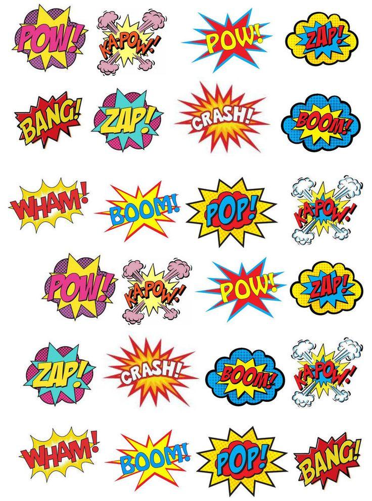 24 Superhero Retro Pow Zap Comic Book Style Edible Wafer Paper Cupcake Toppers
