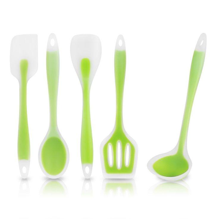 5-Piece Kitchen Utensils Set Cooking Tools Set Heat-Resistant Cooking Utensil Set-Premium Non-Stick Silicone for Superior