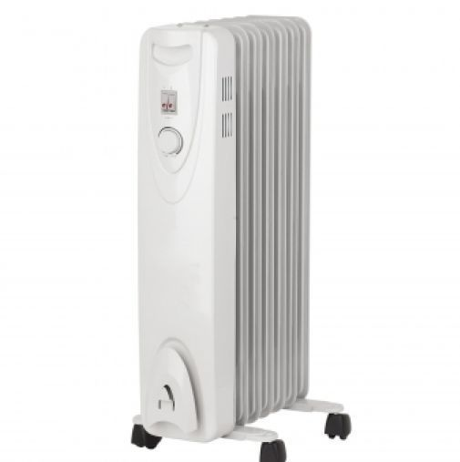 Portable Oil Filled Radiator Heater 1500W Heating Electric Adjustable Thermostat