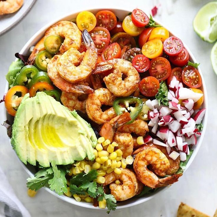 Tequila shrimp taco salad Made by @howsweeteats . Check her out @howsweeteats ingredients: 1 pound raw peeled and deveined shrimp 4 tablespoons olive oil 2 tablespoons tequila 2 garlic cloves, minced 1 lime, juiced and zested 1 teaspoon chili powder 1/2 teaspoon cumin 1/2 teaspoon salt 1/2 teaspoon pepper 2 (4-inch) tortillas, cut into pieces 1 to 2 teaspoons olive oil, if needed 6 to 8 cups spring greens 3 radishes, diced 1 cup cherry tomatoes, halved 1 jalapeño pepper, thinly sliced 1…