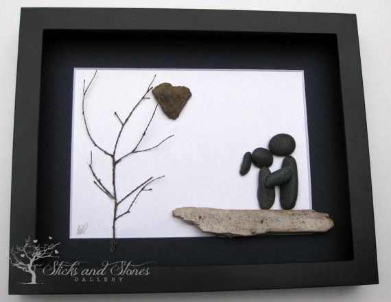 Valentine's Day Gift Pebble Art Couple's Gift by SticksnStone