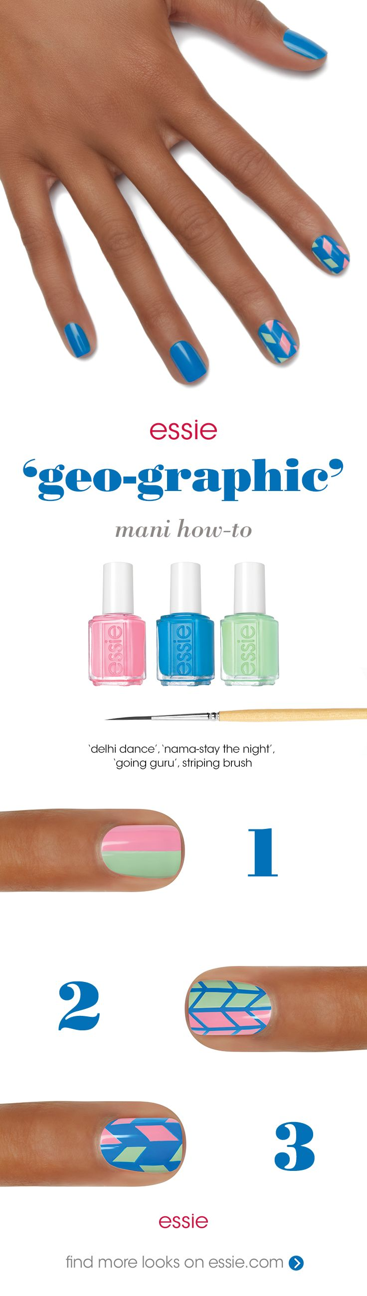 get this 'geo-graphic' nail art look with essie Resort 2016 collection.