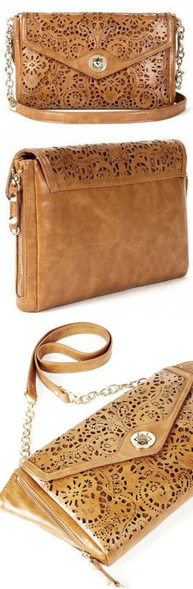 Cognac  Laser-Cut Lace Clutch ♥