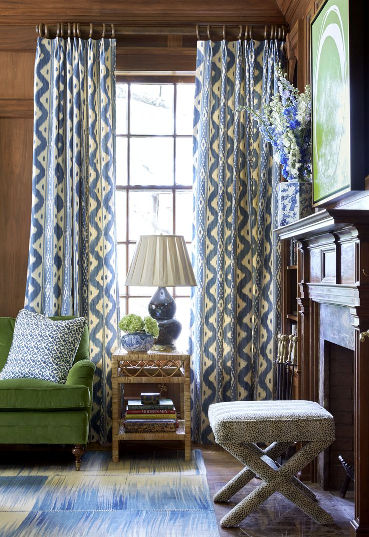 Belle Meade Georgian – Sarah Bartholomew | classic neo traditional library - the blue and green with wood tones looks so fresh