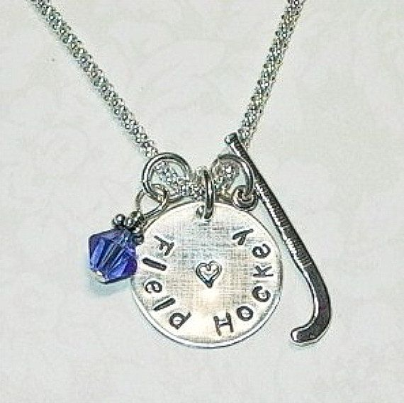 Love Field Hockey Hand Stamped Sterling by DolphinMoonCreations, $30.00