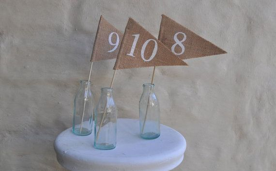 TABLE NUMBERS 11-15 Hessian Burlap Table Numbers Flag Pennant Banner Wedding Engagement Party Celebration Decoration 11-15