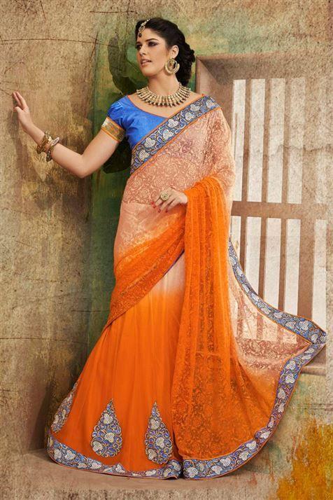 Designer Embroidered Lehenga Style Saree