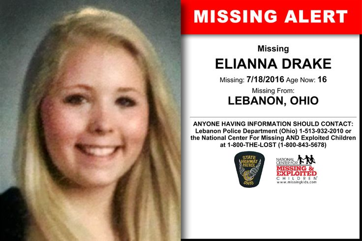 ELIANNA DRAKE, Age Now: 16, Missing: 07/18/2016. Missing From LEBANON, OH. ANYONE HAVING INFORMATION SHOULD CONTACT: Lebanon Police Department (Ohio) 1-513-932-2010.